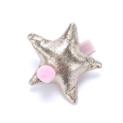 Girls Star and Pompom Hair Bun Clip - Pink/ Pale Gold