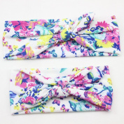 Adults Mother And Baby Girls Rabbit Ears Elastic Bowknot Headband Flower Print Hair Band
