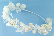 Charming wreath halo of satin rosettes and buds adorned with lace leaves and pearls for Wedding Flower Girl, Communion, or Other Special Events #81D30iv