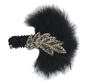 Aniwon Feather Headband Sequin Headbands with Leaf Decoration Black