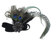 Aniwon Elastic Headbands Peacock Feather Headband with Flower Type Rhinestone