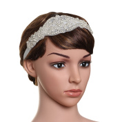 Babeyond Women's Flapper Hairband Crystal Wedding Headbands for Bride Great Gatsby Headband Silver Free Size