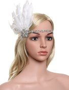 Babeyond Women's Stunning Party Prom Vintage 1920s Gatsby Headpiece Wedding Headbands for Bride White Feather Headdress Free Size