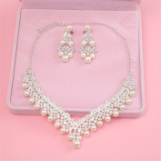 CINRA New Bride Crown Three-Piece Headdress Korean Crown Hair Ornaments Wedding Dress With Jewellery Pearl Necklace