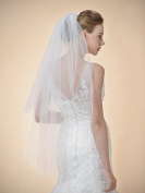 Remedios 2 Tier Fingertip Wedding Bridal Veil Cut Edge 100cm in Ivory