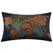 Fullkang Burlap Linen World Map Decorative Cushion Cover Pillow Case
