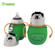 Haakaa 300ml Wide Neck Food Grade Stainless Steel Baby Bottle with a Wide Neck Food Grade Silicone Nipple and a Pure Cotton Cover (Green