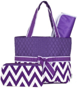 Ever Moda Purple Chevron Quilted Nappy Bag with Change Pad