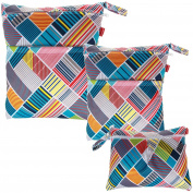 Damero 3pcs Pack Wet Dry Bag for Cloth Nappies Daycare Organiser Bag, Multi Stripes
