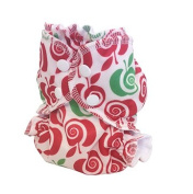 Applecheeks Christmas-Themed Cloth Nappy Cover - Breathable, Waterproof Cover Sewn to a Soft Microfleece Inner Layer - Red and Green Delishmas (Size 1
