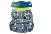 LINGZHI Adjustable Baby Cloth Nappy Pocket Oversize Fits 3-15kg,Jean