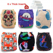 iZiv(TM) Newborn Nappy with 6 Thick Inserts Infant Waterproof/Adjustable/Reusable/Washable Pocket Cloth Nappy Fit Babies 0-3 Years