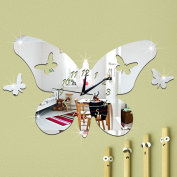 ZQ Modern European and American Stereo Butterfly mirror clocks clocks and creative Clock 3D environmental protection removable wall stickers room decoration ideas wall clocks , Silver