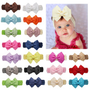 DUOQU 20 Pcs Baby Girls Soft Headbans Fashion Hair Accessories With Big Hair Bows Flowers For Baby Girls Newborn Infant Toddler Multicolor