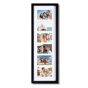 Adeco Decorative Black Wood Wall Hanging Picture Photo Frame with Divided Mat, 6 Openings, 8.9cm x 13cm
