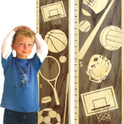 Growth Chart Art | Wooden Height Chart | Sports Growth Chart for Kids, Boys & Girls | Sports Themed Nursery Decor | Multi Sport Grey