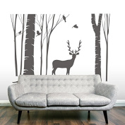 Birch Tree Wall Decal Vinyl Home Wall Art Decor Fantasy 240cm Big Tree with Reindeer Nursery Kids Bedroom Nature Tree Wall Decor Mural Multiple Colours Available