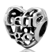 Let it go Charm 925 Sterling Silver Hollow Filigree Heart Love Bead Fits Pandora Charms Bracelet