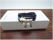 Fashion cat Natural Blue sandstone crystal pearl female Hand Jewellery plutus cat mythical animal beads bracelet