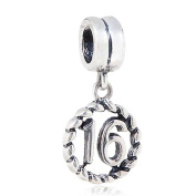 16th Birthday Charm Sterling Silver Lucky Number Pendant Anniversary Charm for Pandora Charm Bracelet