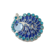 Lovmoment Peacock Shape with Rhinestone DIY Snap Button Chunk Jewellery Charms