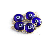 Foxy Findings Evil Eye Collection 24k Gold Plated Transparent Navy Blue Glass Evil Eye Connector Charm Set of 5 EE054