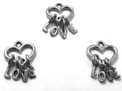 Set of Three (3) Silver Tone Pewter Heart Charms with Letter Dangles