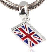 UK Flag Charm 925 Sterling Silver Symol of England Pandant Country Charm for Pandora Charms Bracelet