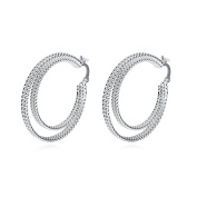 EUBUY Silver Plated Copper French Earring Hook Earwires Jewellery with Round Chain Links
