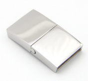 Temeily DIY Jewellery Finding 316L Stainless Steel Magnetic Clasps for Flat Leather Bracelet