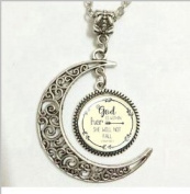 Large God Is Within Her She Wil Not Fall Pendant Necklace Christian Necklace Christian Pendant Inspirational Psalm 46:5 Necklace, Moon Jewellery,moon Necklace Glass Art Picture