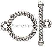 10 Antique Silver Toggle Clasps with Spiral Rope Design Plated Pewter Metal