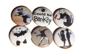 Banksy Street Art Button Set, 15cm x 2.5cm buttons with pinback