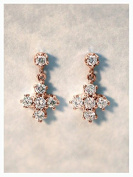 Shraddha Shree Gems Certified Designer Diamond Dangle Earrings | Solid 9K Rose Gold | Cross | Diamond Earrings | April Birthstone | Push Back | Fine Jewellery | .
