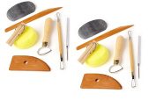 Set of 2 Clay Pottery Tool Kits 8 PC Set Ceramics Wax Carving Sculpting Moulding