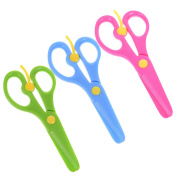 BCP 3 Pieces Assorted Colour Safety Paper Cutting Scissors for Kids