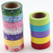 Selectors Washi Tape Set - 12 Beautiful Coloured Paper Tape Rolls For Decorating