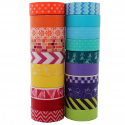 Go Craft Washi Tape (Bright Collection | Set of 20 rolls) - Colourful Wide Geometric Patterns Japanese Tape for Crafts, Scrapbooks, Day Planners, Decorating and Design