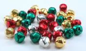 3/8 Inch 10mm Silver Gold Red Green Mix Jingle Bells Charms Bulk 150 Pieces