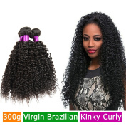 FeiBin Brazilian Hair Afro Kinky Curly Virgin Hair 3 Bundles Human Hair Weave Extensions 100% Unprocessed Healthy Natural Colour Mix Length 41cm 46cm 50cm 300g Total