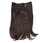 Neitsi 36cm Straight Clip in/on Hair Weft Synthetic Hair Extensions 3 Pcs/set (M.Brown