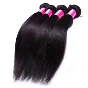 DFX Hair (TM) 8~80cm Brazilian Virgin Human Hair Extension Silky Straight, Pack of Four, 100g/Bundle, 6A Natural Colour Weft