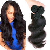 Uneed Hair Brazilian Virgin Hair Body Wave 3 Bundles Grade 7a 100% Unprocessed Virgin Human Hair Weave Extensions Natural Colour Tangle free 95-100g /bundle