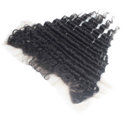 Elva Hair Brazilian Free Part Lace Frontal 33cm x 10cm Bleached Knots Virgin Frontal Piece Deep Wave Full Lace Frontal