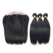 Enoya Straight 3 Bundles Hair Weave Pervirgin Virgin Hair with 13 X4 Silk Top Closure Lace Frontal Hair Piece
