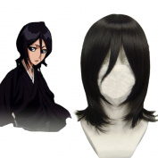 Wigle 41cm Straight Black Cosplay Wig BLEACH Kuchiki Rukia Costume Party Wig with Free Wig Cap