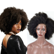 Sunwell 7A Unprocessed Brazilian Human Virgin Hair Afro Kinky Curly Lace Front Wig for Black Women, Natural Colour 130% Density 41cm
