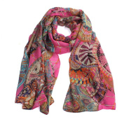 Datework Women Chiffon Printed Silk Long Soft Scarf Shawl