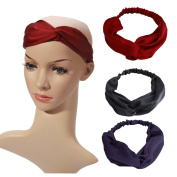 AUSKY Solid Colour Twisted Knotted Multi-Style Fashion Headbands for Women