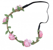 AM CLOTHES Womens Flower Garland Vacation Festival Hair Wreath Headband Pink